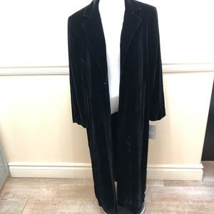 Liz Claiborne vintage long velvet coat black 14P